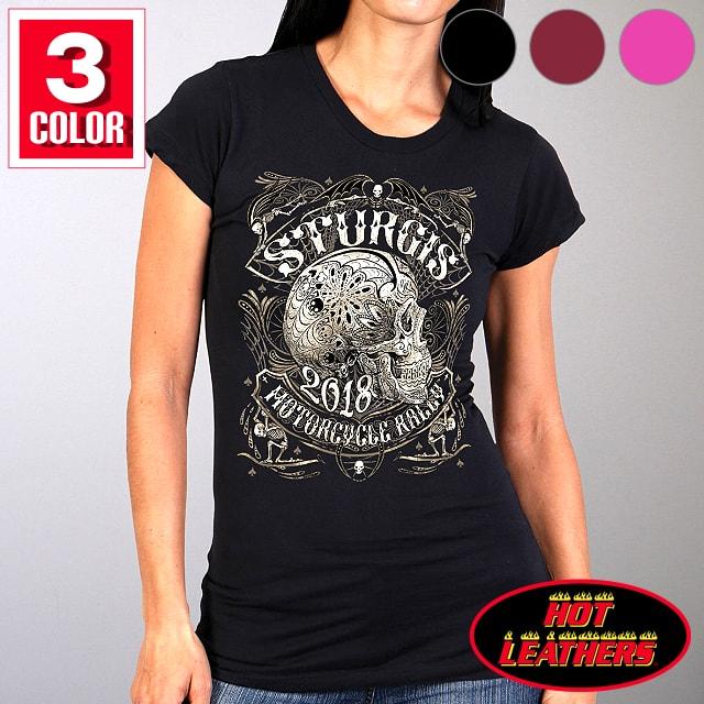 トップス, Tシャツ・カットソー ! ! Sturgis Motorcycle Rally Official 2018 3! Ladies Profile Sugar Skull T-Shirt T! ! 78th Logo
