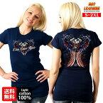 【送料無料!】日本未発売! セール価格! 米国直輸入! ホットレザー [Angel Wings Ladies T-Shirt] エンジェルウィングス レディース Tシャツ! 半袖 ネイビー ブルー 青 星条旗 ハート 羽根 薔薇 Hot Leathers プリントT スクリーンプリント バイクに!