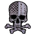 【送料無料!】日本未発売! セール価格! ホットレザー 選べる2サイズ! [Flag Skull Patch] フラッグ・スカル ワッペン! 骸骨 ドクロ 星条旗 パッチ 米国バイカー専門ブランドから直輸入! ウェアのカスタムに! 布製 アイロン対応 サイズ大小
