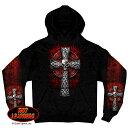【送料無料!(条件あり)】日本未発売! セール価格! ホットレザー [Celtic Cross Pocket Hooded Sweatshirt] ケルティック・クロス・ポケット・フーデッド・スウェットショート! パーカー プルオーバー Hoodie 長袖 米国 HOTLEATHERS 直輸入! スカル ブラック 黒 バイクに!