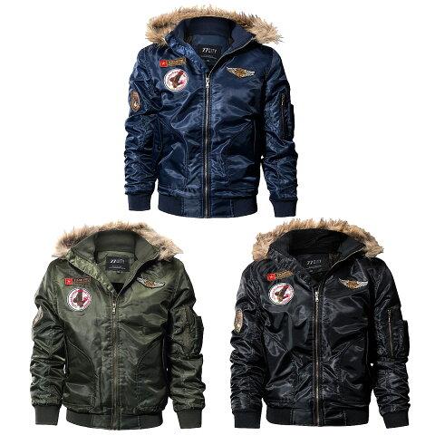 【送料無料!】全3色! 6サイズ! [Men's Military Patches Wool Liner Hooded Bomber Jacket] メンズ ミリタリーパッチズ ウールライナーフーデッド ボンバージャケット! フライトジャケット ワッペン フード付き ブルゾン ジャンパー コート アウター MA-1 バイクに!