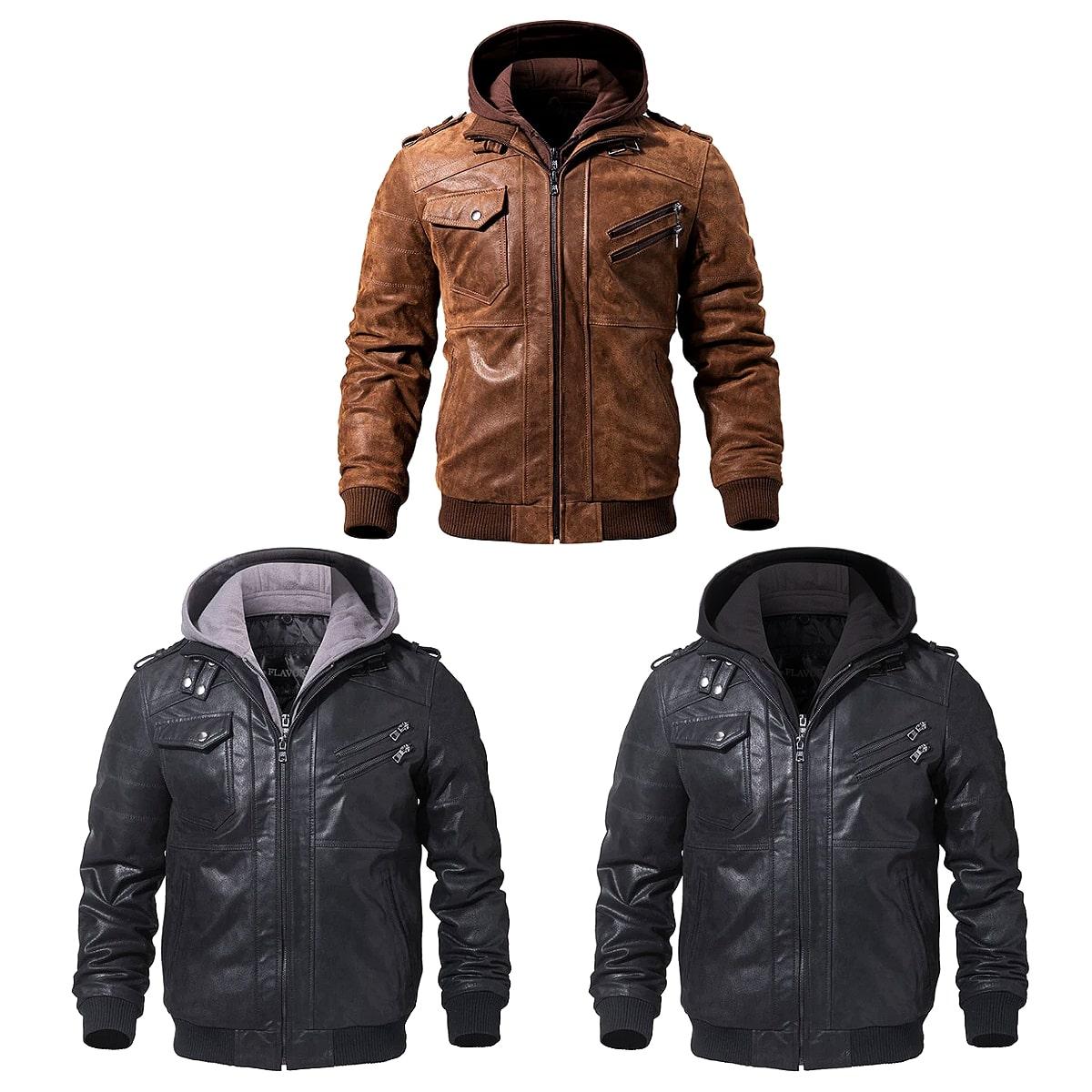 メンズファッション, コート・ジャケット !3! 7! Mens Removable Hood Genuine Leather Motorcycle Jacket ! !
