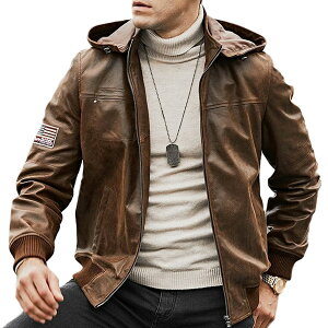 【送料無料!】フード着脱可能! 全10サイズ! [Men's Removable Hood Pigskin Leather Motorcycle Jacket] メンズ リムーバブルフード ピッグスキンレザー モーターサイクルジャケット! 本革 豚革 革ジャン ブラウン 茶 パーカー コート アウター バイクに!