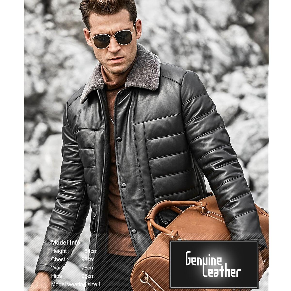 【!】全10サイズ! [Men's Sheep Fur Collar Lambskin Genuine Leather Duck Down Jacket] メンズ シープファーカラー ラムスキン ジェニュインレザー ダックダウンジャケット! 本革 山羊革 ダウンコート 中綿 羽毛 ブラック 黒 アウター バイクに!