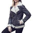 【送料無料!】全7サイズ! [Women's Faux Fur Shearling Pigskin Genuine Leather Jacket] ウィメンズ フェイクファー ムートン ピッグ..
