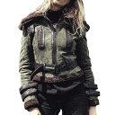 【送料無料!】全7サイズ! [Women's Faux Fur Shearling Pigskin Genuine Leather Military Jacket] レディース フェイクファー ムート..