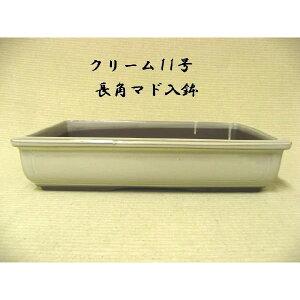 Seto ware Long angle pot Cream No. 11 Bonsai pot Flower pot