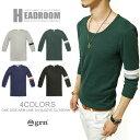grn ロング Tシャツ メンズ grn ワンサイドアームライン 7分袖 フライス パックTシャツ