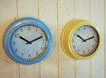 ウォールクロックブルー・イエロー掛け時計