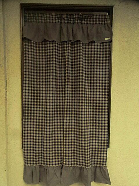 【のれん】定番カントリーチェック♪150cm丈のれん(紺)*アメリカンカントリー 暖簾