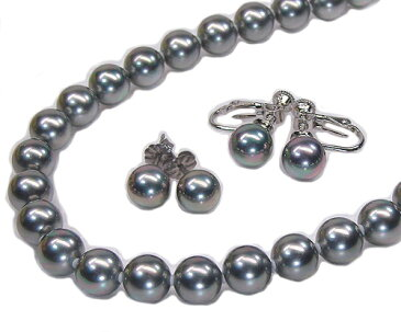 花珠真珠に匹敵!黒真珠ブラック花珠貝パールネックレスピアス(イヤリング)セット8.0mm【6月誕生石真珠】【レディース,通販】