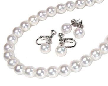花珠真珠に匹敵!花珠貝パールネックレスピアス(イヤリング)セット8.0mm【6月誕生石真珠】【レディース,通販】