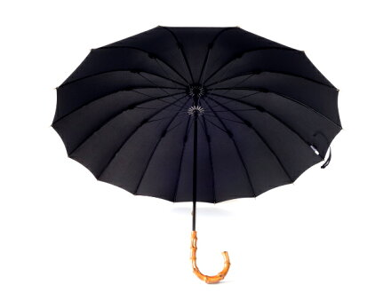 送料無料クラシコメンズバンブー持ち手高級紳士傘グラスファイバー骨軽量480g16本骨傘かさカサ大きい雨傘メンズおしゃれブランドメンズファッション保証付きブラック◎