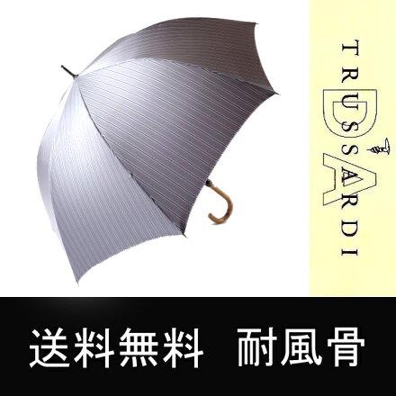 送料無料トラサルディメンズブランド傘耐風骨グラスファイバー骨高級紳士雨傘傘かさカサメンズブランドメンズファッションおしゃれ大きい雨傘丈夫ストライプグレー◎