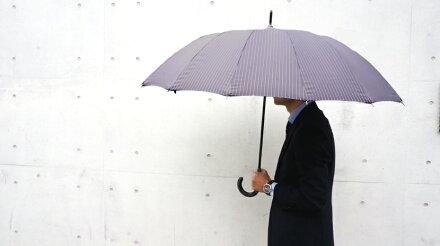 送料無料クラシコメンズステッチレザー高級紳士傘軽量490gグラスファイバー骨傘かさカサ大きい雨傘メンズおしゃれブランドメンズファッション保証付き16本骨ストライプグレー◎