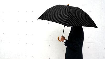 送料無料クラシコメンズ竹折りたたみ傘軽量ミニ開閉便利機能バンブーハンドル高級紳士傘雨傘傘かさカサブランドメンズファッション保証付きストライプブラック♪