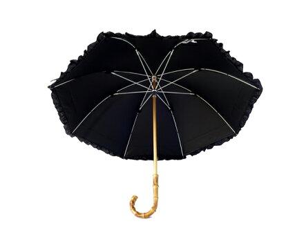 全品送料無料クラシコ日本製生地完全遮光100%遮光100%晴雨兼用日傘uvカット100%遮光UVカット紫外線カット紫外線対策清涼効果ラミネート傘エイジングケア1級遮光日本製生地レディースショート50cmバンブーハンドルダブルフリルブラック○▽
