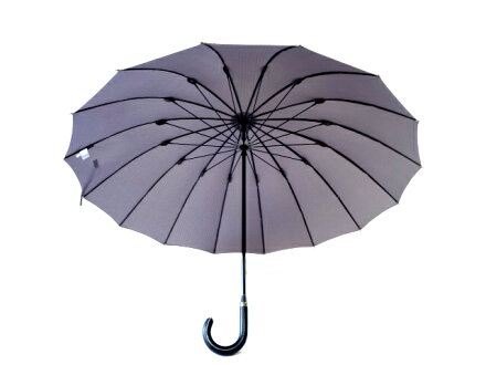 全品送料無料クラシコメンズステッチレザー高級紳士傘軽量490gグラスファイバー骨傘かさカサ大きい雨傘メンズおしゃれブランドメンズファッション保証付き16本骨ストライプグレー◎