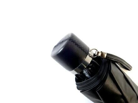 送料無料クラシコメンズUVカット遮光率99%以上コーティング晴雨兼用日傘折りたたみ傘軽量ミニ開閉便利機能高級紳士傘ステッチレザーハンドルブラック♪#