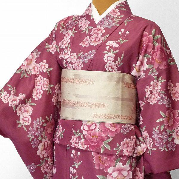 【レンタル】着物 レンタル 春秋冬用 レディース 袷 小紋 セット「Mサイズ」濃ピンク しだれ桜 (1007)