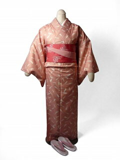 着物レンタル春秋冬用レディース袷小紋セット「Mサイズ」ピンク・扇の画像2
