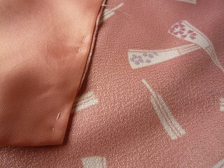 着物レンタル春秋冬用レディース袷小紋セット「Mサイズ」ピンク・扇の画像3