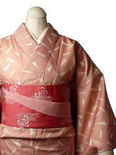 着物レンタル春秋冬用レディース袷小紋セット「Mサイズ」ピンク・扇の画像