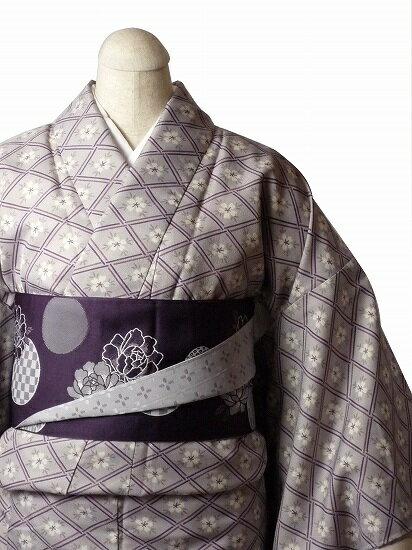 【レンタル】着物 レンタル 春秋冬用 レディース 袷 小紋 セット「Mサイズ」うす紫・花菱 (1031)