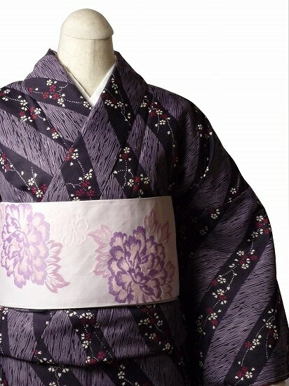 【レンタル】着物 レンタル 春秋冬用 レディース 袷 小紋 セット「Mサイズ」紫・ストライプ (1034)