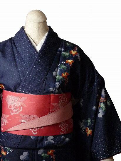 【レンタル】着物 レンタル 春秋冬用 レディース 袷 小紋 セット「Mサイズ」紺・朝顔 (1037)