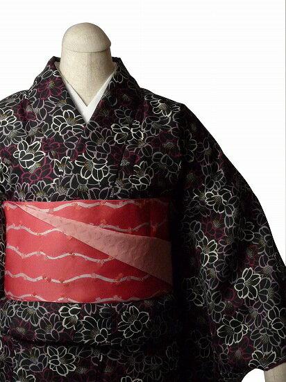 【レンタル】着物 レンタル 春秋冬用 レディース 袷 小紋 セット「Mサイズ」黒・ツバキ (1040)