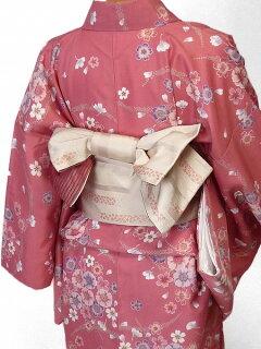 着物レンタル春秋冬用レディース袷小紋セット「Lサイズ」ピンク・桜(送料無料)の画像2