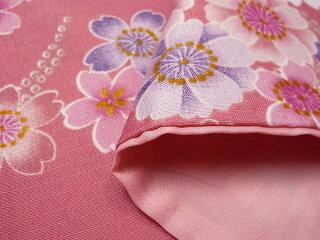 着物レンタル春秋冬用レディース袷小紋セット「Lサイズ」ピンク・桜(送料無料)の画像4