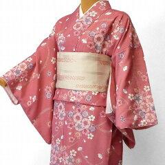 着物レンタル春秋冬用レディース袷小紋セット「Lサイズ」ピンク・桜(送料無料)の画像