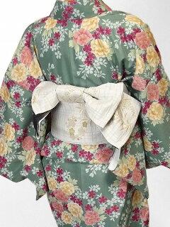 着物レンタル春秋冬用レディース袷小紋セット「Sサイズ」緑・牡丹の画像2