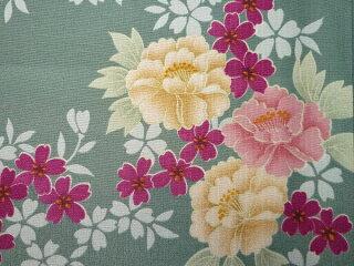 着物レンタル春秋冬用レディース袷小紋セット「Sサイズ」緑・牡丹の画像3