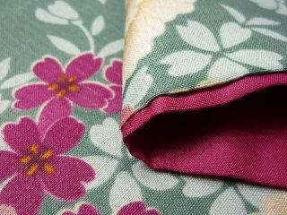 着物レンタル春秋冬用レディース袷小紋セット「Sサイズ」緑・牡丹の画像4