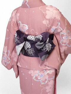着物レンタル春秋冬用レディース袷小紋セット「Lサイズ」ピンク・大桜(送料無料)の画像2