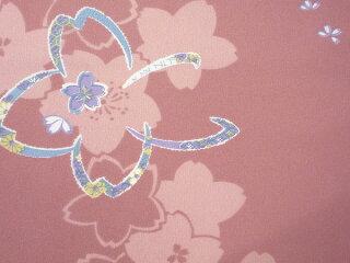 着物レンタル春秋冬用レディース袷小紋セット「Lサイズ」ピンク・大桜(送料無料)の画像3