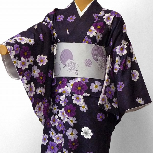 【レンタル】着物 レンタル 春秋冬用 レディース 袷 小紋 セット「Mサイズ」紫・コスモス (1123)