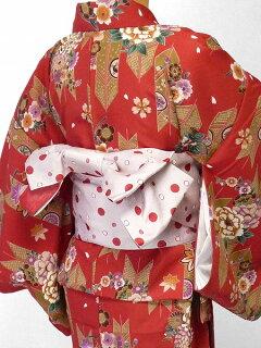 着物レンタル春秋冬用レディース袷小紋セット「XLサイズ」朱色・矢羽根・お正月の画像2