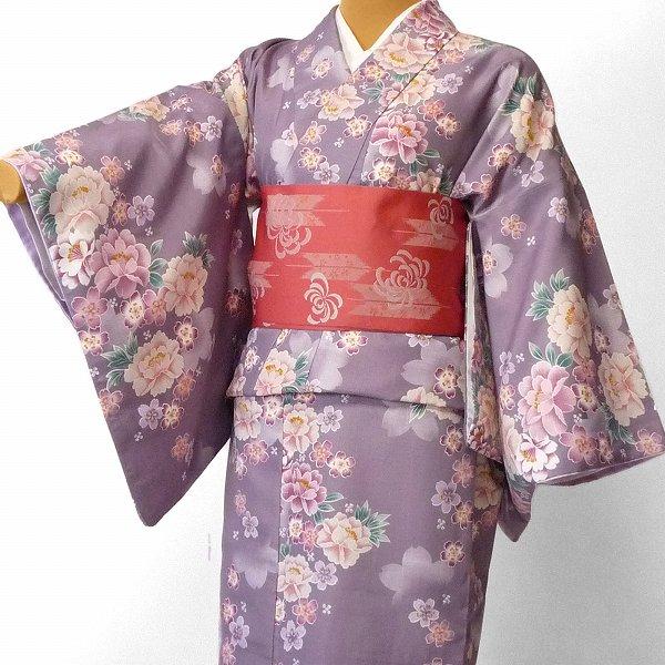 【レンタル】着物 レンタル 春秋冬用 レディース 袷 小紋 セット「Lサイズ」薄紫・牡丹 (1151)