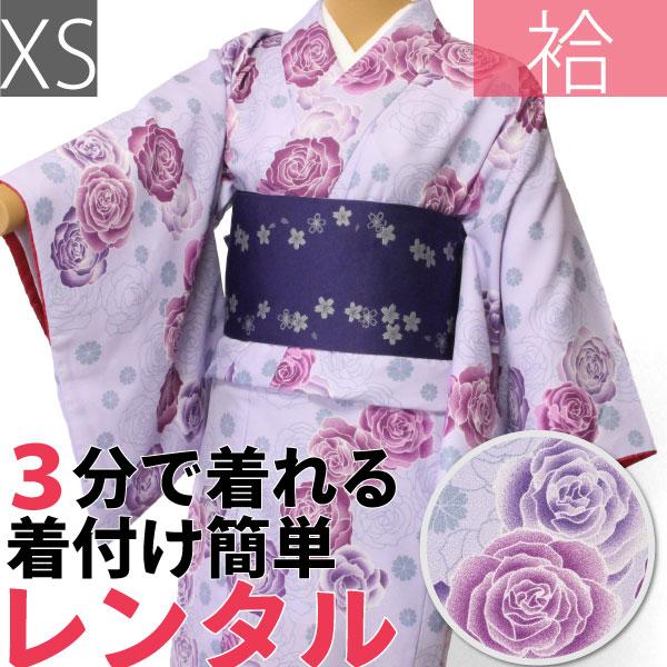 【レンタル】着物 レンタル 春秋冬用 レディース 袷 小紋 セット「XSサイズ」紫・洋バラ (1159)