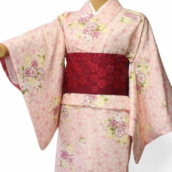 【レンタル】着物 レンタル 春秋冬用 レディース 袷 小紋 セット「Sサイズ」ピンク・桜 (1211)