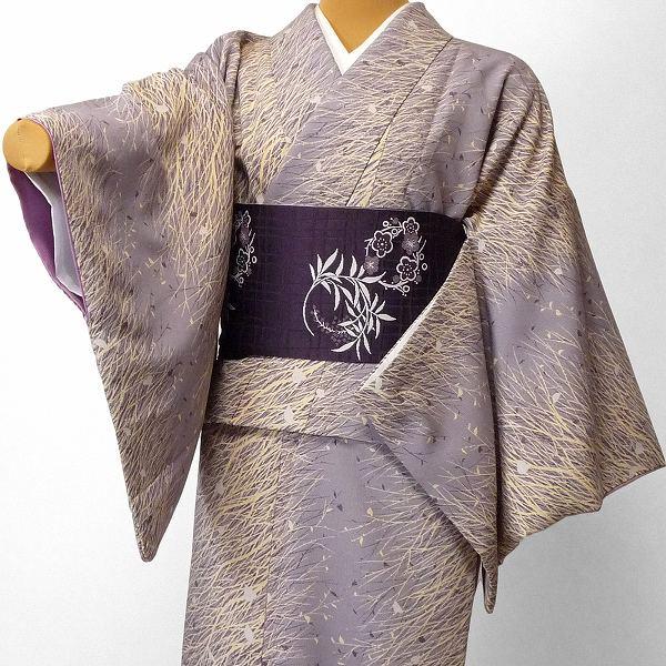 【レンタル】着物 レンタル 春秋冬用 レディース 袷 小紋 セット「Mサイズ」紫・ススキ (1428)