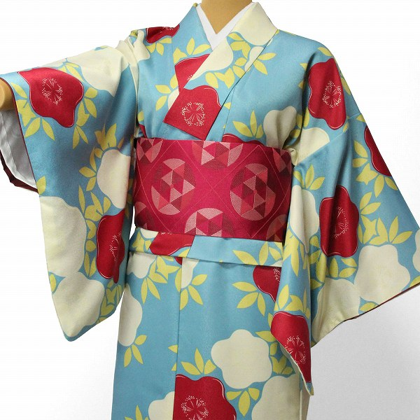 【レンタル】〔着物 レンタル〕「Lサイズ」hiromichi nakano 緑・紅白 ツバキ(春秋冬用/女性用レディース袷) おしゃれ モダン (1293)