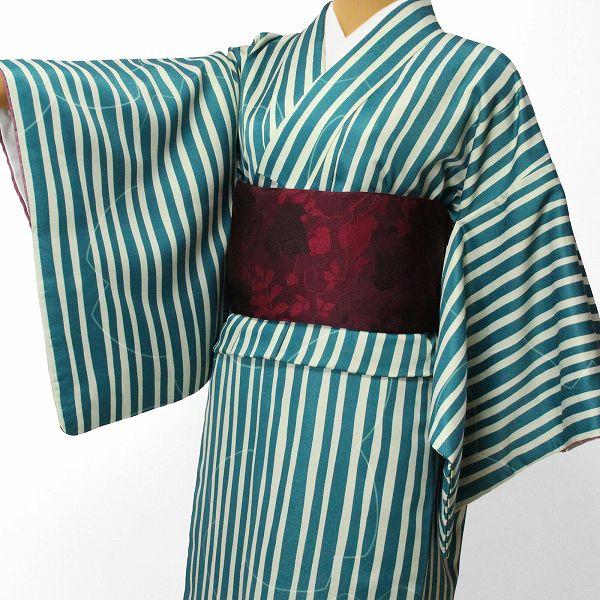 【レンタル】〔着物 レンタル〕「XLサイズ」hiromichi nakano 緑・縦縞(春秋冬用/女性用レディース袷) おしゃれ モダン (1296)