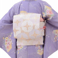 着物レンタル春秋冬用レディース袷小紋袋帯セット「Sサイズ」紫・扇面(送料無料)の画像2