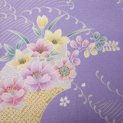 着物レンタル春秋冬用レディース袷小紋袋帯セット「Sサイズ」紫・扇面(送料無料)の画像3