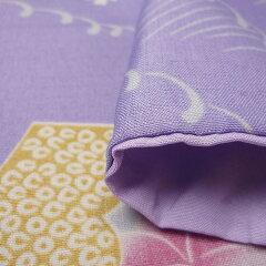 着物レンタル春秋冬用レディース袷小紋袋帯セット「Sサイズ」紫・扇面(送料無料)の画像4